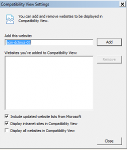 Screen shot showing the checkbox to display intranet sites in compatibility view